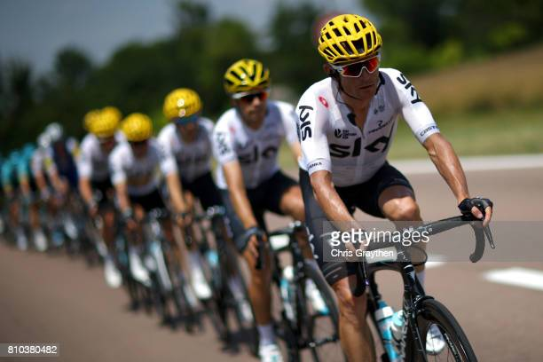 Vasil Kiryienka of Belarus riding for Team Sky rides in the peloton during stage seven of the 2017 Le Tour de France a 2135km stage from Troyes to...