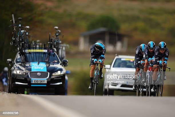 Vasil Kiryienka of Team SKY and Belarus leads team mates Sir Bradley Wiggins of Great Britain, Dario Cataldo of Italy and Kanstantsin Siutsou of...