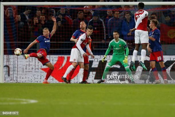 Vasili Berezutski of CSKA Moscow in action during the UEFA Europa League Quarterfinals second leg match between CSKA Moscow and Arsenal at CSKA VEB...
