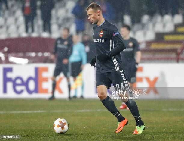 Vasili Berezutski of CSKA Moscow in action during UEFA Europa League Round of 32 match between Crvena Zvezda Belgrade and CSKA Moscow at the Rajko...