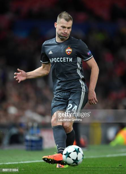 Vasili Berezutski of CSKA Moskva passes the ball during the UEFA Champions League group A match between Manchester United and CSKA Moskva at Old...