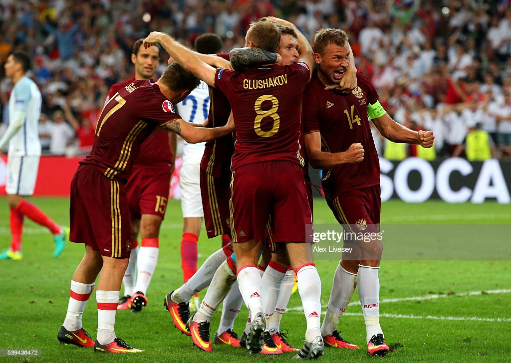 Vasili Berezutski (1st R) of Russia celebrates scoring his team's first goal with his team mates during the UEFA EURO 2016 Group B match between England and Russia at Stade Velodrome on June 11, 2016 in Marseille, France.