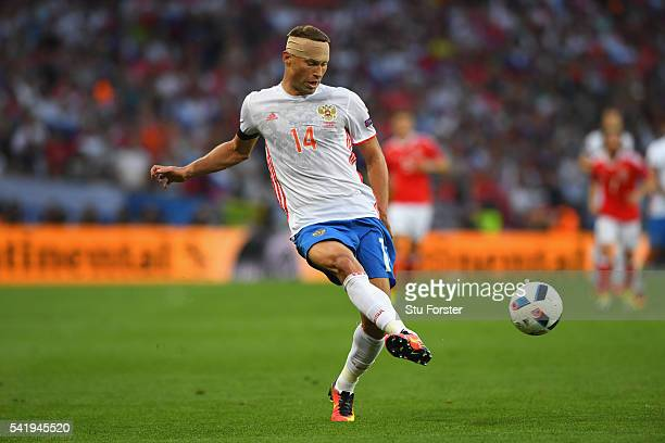 Vasili Berezutski of Russia in action during the UEFA EURO 2016 Group B match between Russia and Wales at Stadium Municipal on June 20, 2016 in...