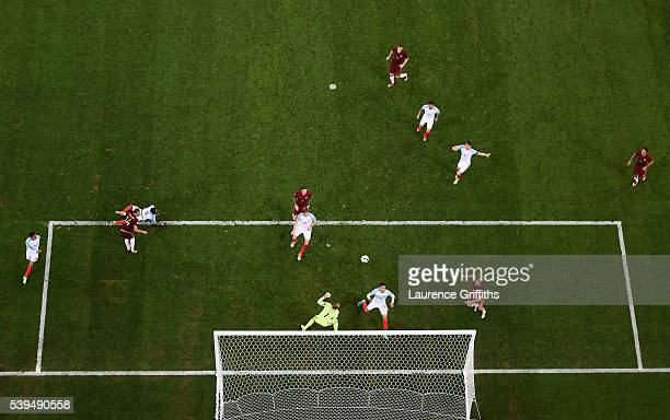 Vasili Berezutski of Russia scores the equalising goal past Joe Hart of England during the UEFA EURO 2016 Group B match between England and Russia at...