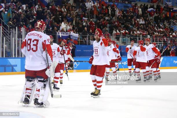 Vasili Koshechkin and Nikita Nesterov of Olympic Athlete from Russia celebrate after defeating Czech Republic 30 during the Men's Playoffs Semifinals...