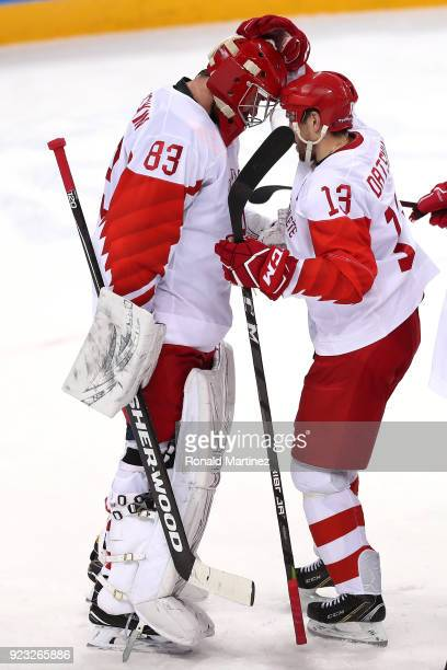 Vasili Koshechkin and Pavel Datsyuk of Olympic Athlete from Russia celebrate after defeating the Czech Republic 30 during the Men's Playoffs...