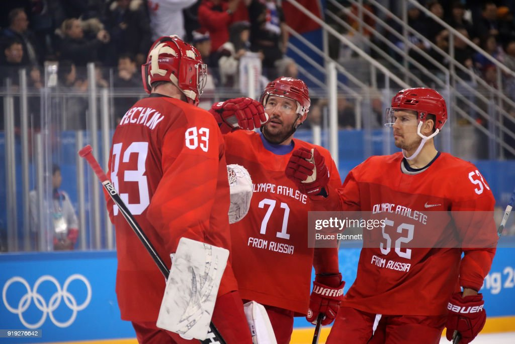Vasili Koshechkin #83, Ilya Kovalchuk #71 and Sergei Shirokov #52 of Olympic Athlete from Russia celebrate after defeating the United States 4-0 during the Men's Ice Hockey Preliminary Round Group B game on day eight of the PyeongChang 2018 Winter Olympic Games at Gangneung Hockey Centre on February 17, 2018 in Gangneung, South Korea.