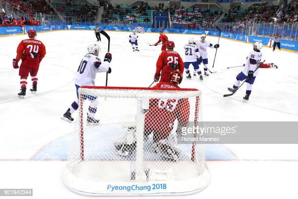 Vasili Koshechkin of Olympic Athlete from Russia gives up a goal to Alexander Bonsaksen of Norway during the Men's Playoffs Quarterfinals on day...