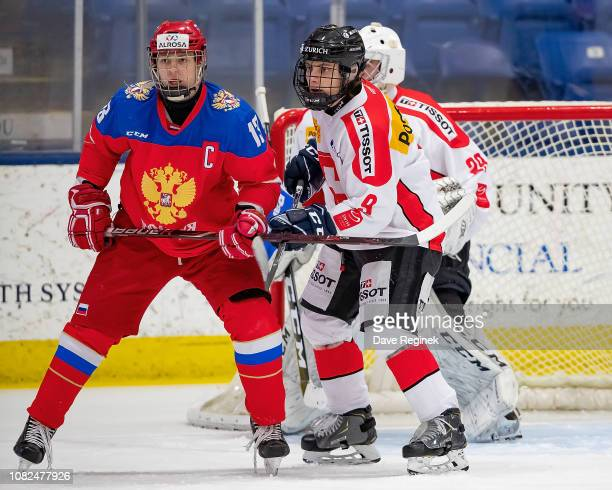 Vasili Ponomaryov of the U17 Russian Nationals battles for position with Rémy von Allmen of the Switzerland Nationals during day one of game one of...