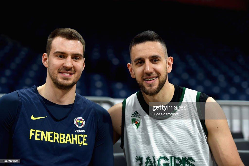 Vasilije Micic, #22 of Zalgiris Kaunas and Marko Guduric, #23 of Fenerbahce Dogus Istanbul poses at the end of 2018 Turkish Airlines EuroLeague F4 Zalgiris Kaunas Official Practice at Stark Arena on May 17, 2018 in Belgrade, Serbia.