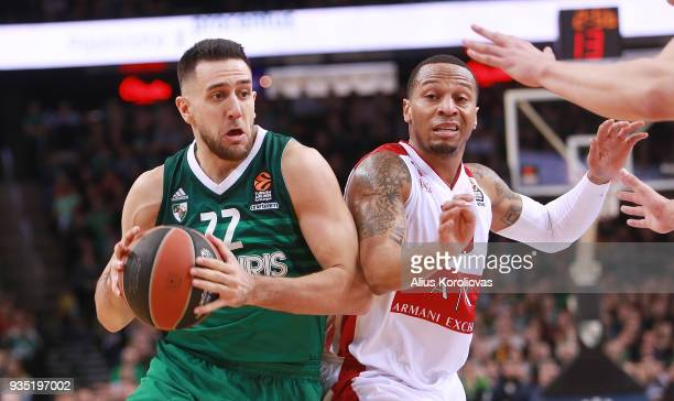 Vasilije Micic #22 of Zalgiris Kaunas competes with Curtis Jerrells #55 of AX Armani Exchange Olimpia Milan in action during the 2017/2018 Turkish...