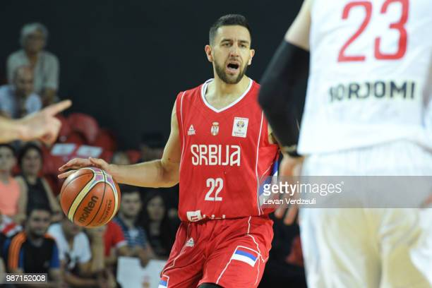 Vasilije Micic of Serbia drives the ball during the FIBA Basketball World Cup Qualifier match between Georgia and Serbia at Tbilisi Sports Palace on...