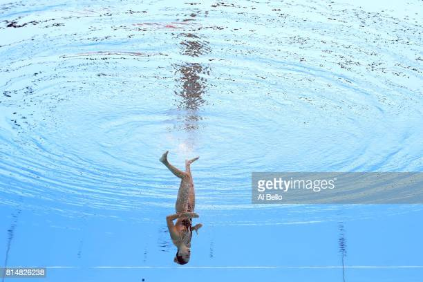 Vasiliki Alexandri of Austria competes during the Womens Synchro Solo Technical final on day two of the Budapest 2017 FINA World Championships on...