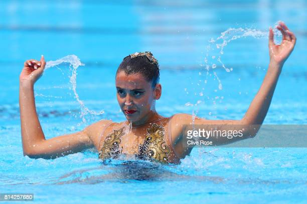Vasiliki Alexandri of Austria competes during the Womens Synchronized Solo Technical preliminary round on day one of the Budapest 2017 FINA World...