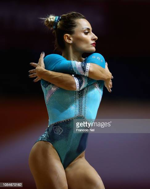 Vasiliki Millousi of Greece competes in the Women's Balance Beam Qualification during day four of the 2018 FIG Artistic Gymnastics Championships at...