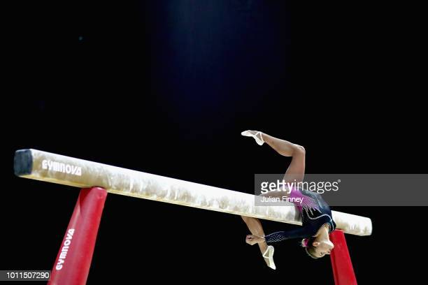 Vasiliki Millousi of Greece competes in the Women's Individual Beam Final during the gymnastics on Day Four of the European Championships Glasgow...