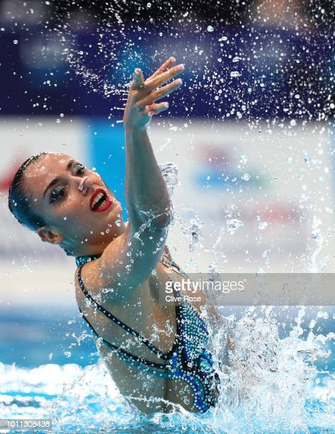 Vasiliki Pagon Alexandri of Austria competes in the Solo Free Routine Preliminary round during the Synchronised Swimming on Day Four of the European...