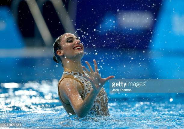 Vasiliki Pagon Alexandri of Austria competes in the solo technical routine final during the synchronised swimming on Day five of the European...