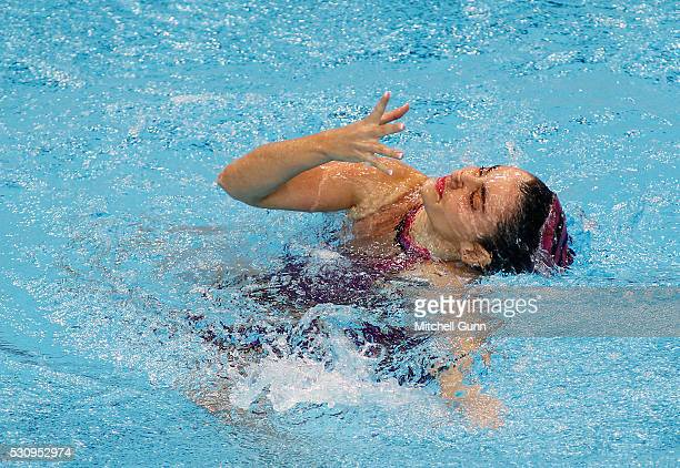 VasilikiP Alexandri of Austria competes in The Solo Synchronised Swimming Technical Final on day four of the LEN European Swimming Championships at...