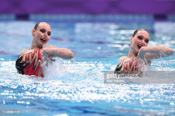 Vasilina Khandoshka and Darya Kulagina of Belarus compete during the Duet Free Routine Final on day two of the Artistic Swimming Japan Open at Tokyo...