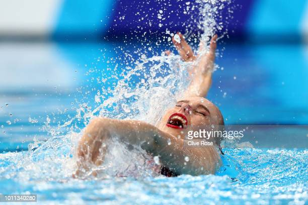 Vasilina Khandoshka of Belarus competes in the Solo Free Routine Preliminary round during the Synchronised Swimming on Day Four of the European...