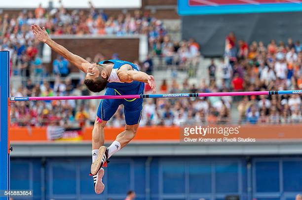 Vasilios Constantinou of Cyprus pushing hard during the men's high jump finals at the Olympic Stadium during Day Five of the 23rd European Athletics...