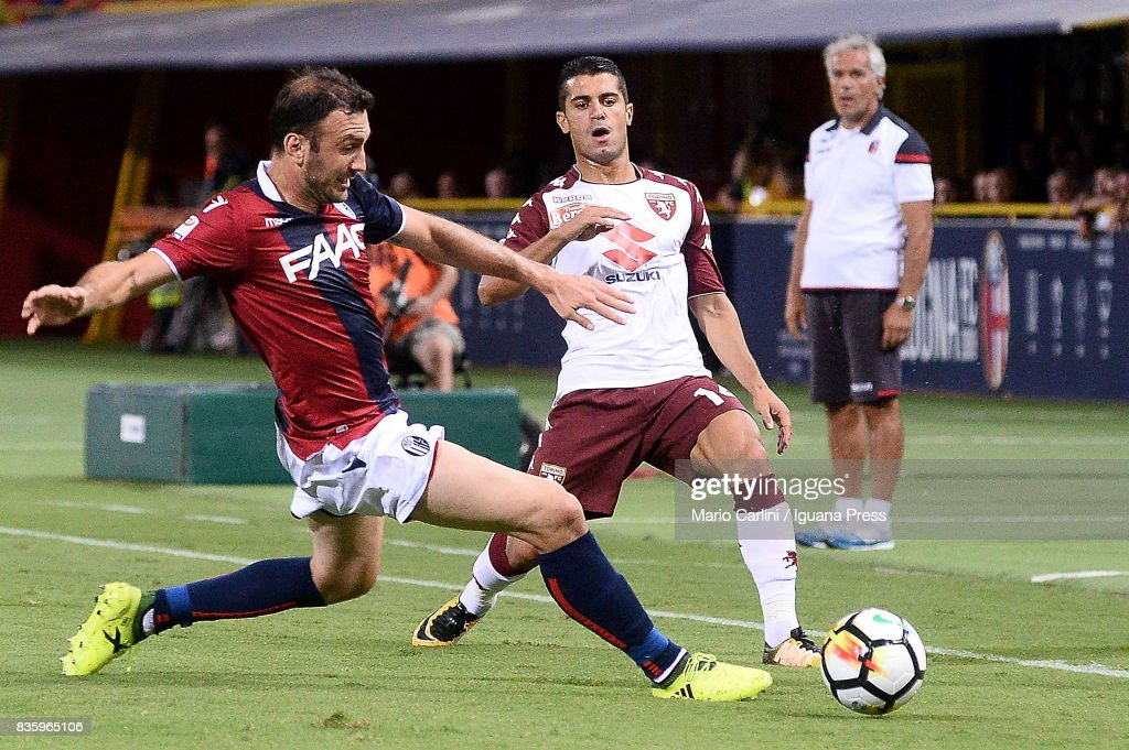 Vasilis Torosidis # 25 of Bologna FC in action during the Serie A match between Bologna FC and Torino FC at Stadio Renato Dall'Ara on August 20, 2017 in Bologna, Italy.