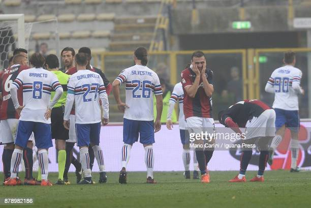 Vasilis Torosidis of Bologna FC looks dejectded after being sent off during the Serie A match between Bologna FC and UC Sampdoria at Stadio Renato...