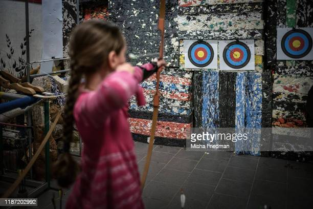 Vasilisa Burmagina practicing archery on December 8, 2019 in Moscow, Russia. The country's archers have enjoyed modest success at the Olympics,...