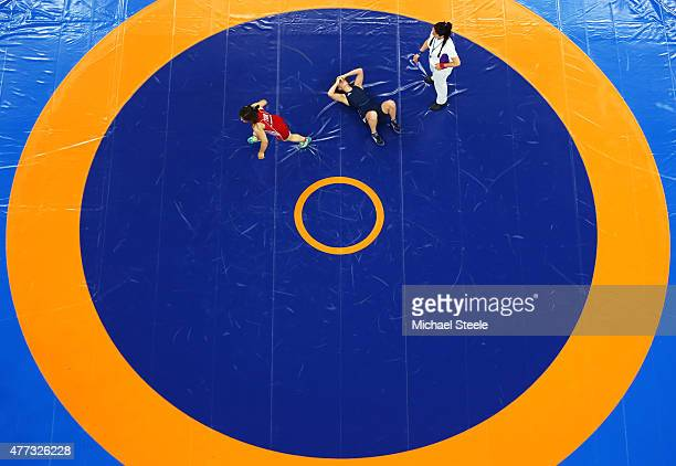 Vasilisa Marzaliuk of Belarus celebrates winning the gold in the Women's Wrestling 75kg Freestyle final against Ekaterina Bukina of Russia during day...