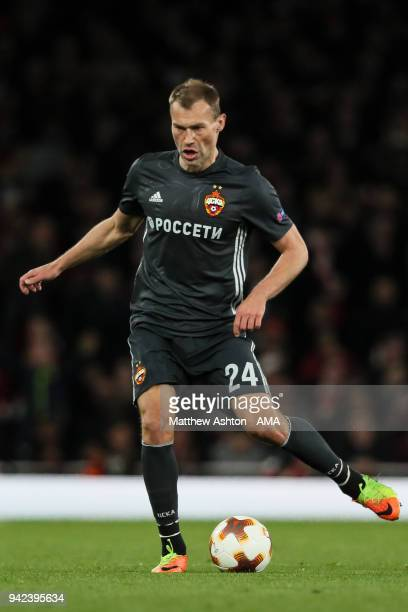 Vasiliy Berezutskiy of CSKA Moscow during the UEFA Europa League Quarter Final First Leg match between Arsenal FC and CSKA Moskva at Emirates Stadium...