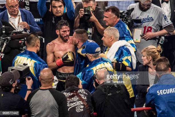 Vasiliy Lomachenko and Jorge Linares embrace after Lomachenko's win by technical knockout in the 10th Round at Madison Square Garden NYC on May 12...