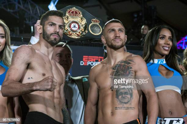 Vasiliy Lomachenko and Jorge Linares face off and pose during the weigh in for their upcoming Lightweight fight Madison Square Garden NYC on May 11...