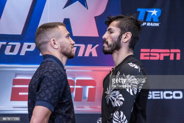 Vasiliy Lomachenko and Jorge Linares face off during the Final Press Conference for their upcoming Lightweight fight at Madison Square Garden on May...