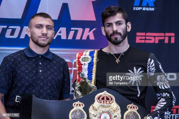 Vasiliy Lomachenko and Jorge Linares pose during the Final Press Conference for their upcoming Lightweight fight at Madison Square Garden on May 10...