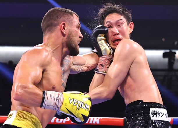 Vasiliy Lomachenko and Masayoshi Nakatani exchange punches during their fight at Virgin Hotels Las Vegas on June 26, 2021 in Las Vegas, Nevada.