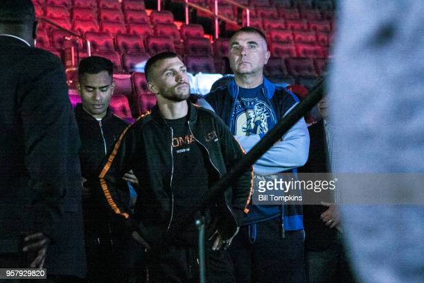 Vasiliy Lomachenko arrives to weigh in for his upcoming Lightweight fight against Jorge Linares Madison Square Garden NYC on May 11 2018 in New York...