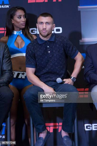 Vasiliy Lomachenko attends the final press conference for his upcoming Lightweight fight against Jorge Linares at Madison Square Garden on May 10...