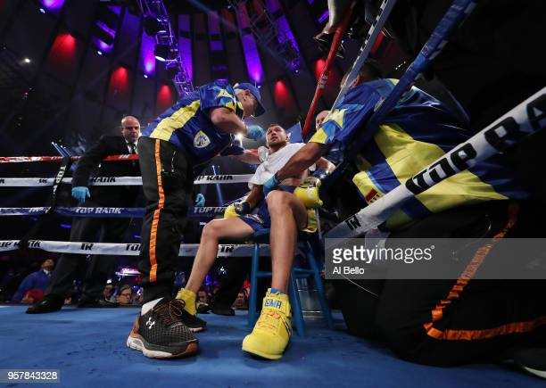 Vasiliy Lomachenko is tended to between rounds against Jorge Linares during their WBA lightweight title fight at Madison Square Garden on May 12 2018...