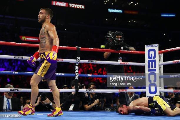 Vasiliy Lomachenko knocks out Anthony Crolla during their WBA/WBO lightweight title bout at Staples Center on April 12, 2019 in Los Angeles,...