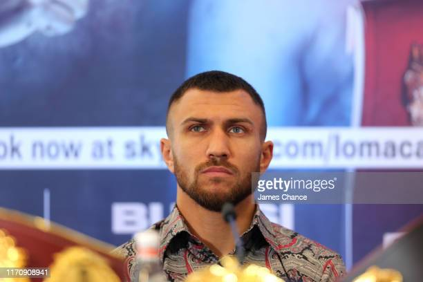 Vasiliy Lomachenko looks on as he speaks to the media during the Vasiliy Lomachenko and Luke Campbell press conference in the lead up to their WBC,...