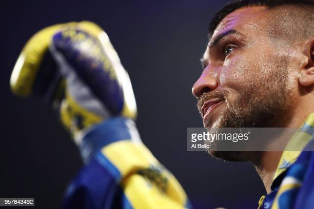 Vasiliy Lomachenko looks on before his fight against Jorge Linares during their WBA lightweight title fight at Madison Square Garden on May 12 2018...