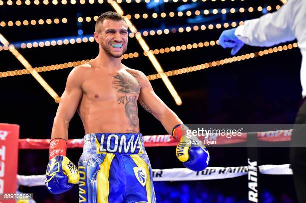Vasiliy Lomachenko prepares for his Junior Lightweight bout against Guillermo Rigondeaux during their at Madison Square Garden on December 9, 2017 in...
