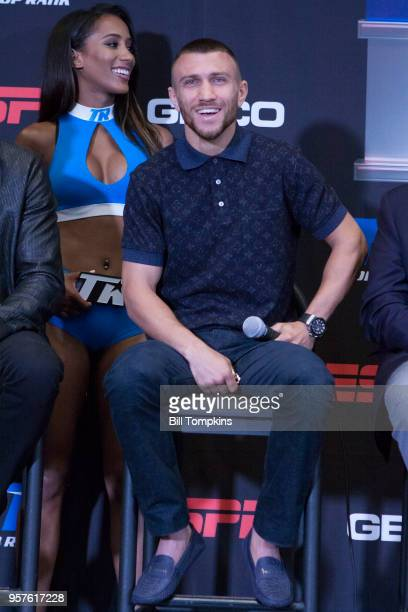 Vasiliy Lomachenko speaks during the Final Press Conference for his upcoming Lightweight fight against Jorge Linares at Madison Square Garden on May...