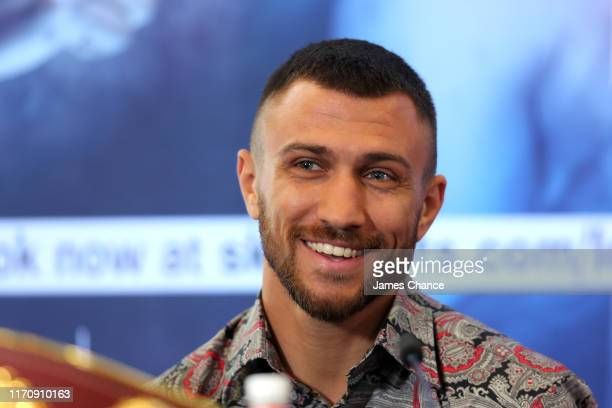 Vasiliy Lomachenko speaks to the media during the Vasiliy Lomachenko and Luke Campbell press conference in the lead up to their WBC, WBA, WBO and...