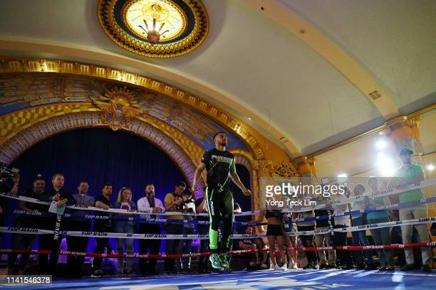 Vasiliy Lomachenko works out at Ukrainian Cultural Center on April 09 2019 in Los Angeles California