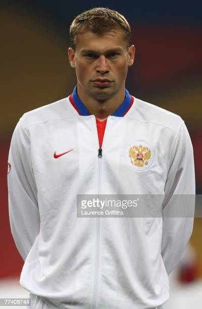 Vasily Berezutskiy of Russia lines up before the Euro 2008 qualifying match between Russia and England at The Luzhniki Stadium on October 17, 2007 in...