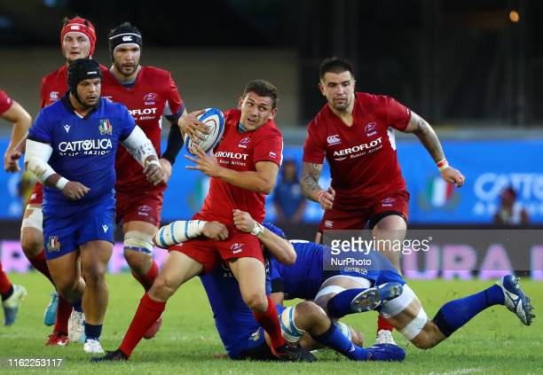 Vasily Dorofeev of Russia tackled by Sebastian Negri of Italy during the rugby Cattolica Test Match Italy v Russia at the Riviera delle Palme Stadium...