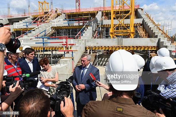 Vasily Golubev Govenor of the Rostov Region speaks to the media at the construction site of the new stadium during a media tour of Russia 2018 FIFA...