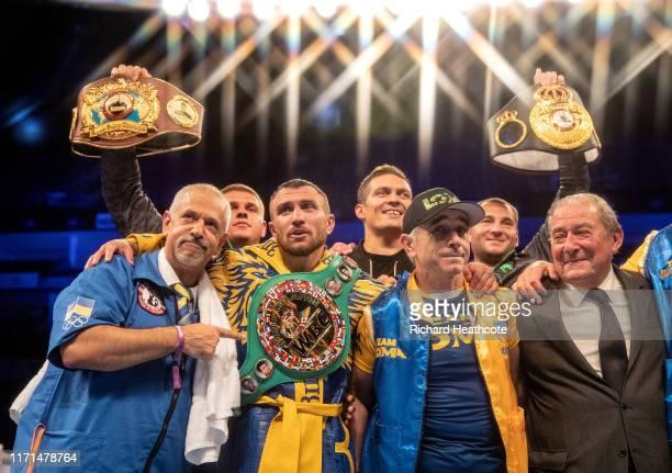Vasily Lomachenko celebrates victory during the WBA, WBO, WBC Lightweight World Title contest between Vasily Lomachenko and Luke Campbell at The O2...